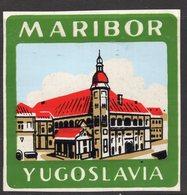 1930s YUGOSLAVIA, SLOVENIA, MARIBOR, TOWN, CITY BAGGAGE LABEL, 6.5 X 6.5 Cm - Etiquetas De Hotel