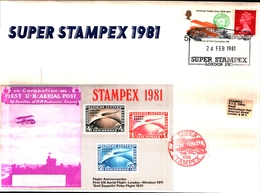 12057) GREAT BRITAIN SUPER STAMPEX 1981, FLIGHT ANNIVERSARIES, ZEPPELIN Special Cancel - Covers & Documents
