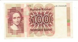 BILLET NORVEGE - 100 KRONER - COURONNES NORVEGIENNES - AS1566820 - 1979 - Norvège