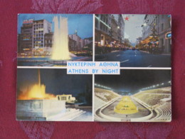 "Greece 1965 Postcard ""Athens By Night - Olympic Stadium"" To England - Venizelos - Greece"