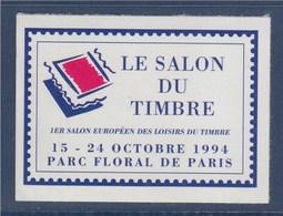 = 1er Salon Européen Des Loisirs Et Du Timbre Parc Floral De Vincennes Vignette Annonce Adhésive Non Dentelée N°26 Neuve - Commemorative Labels