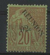 """REUNION / COLONIES N° 29 * (MH) Cote 18 € """"02c"""" Sur 20ct Brique Sur Vert. TB - Ongebruikt"""