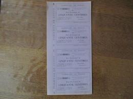 COMMUNE DE ROUPY BON MUNICIPAL DE CINQUANTE CENTIMES POUR LE MAIRE BRABANT 20 SEPTEMBRE 1915 PLANCHE DE 4 BONS - Notgeld