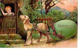 CPA  -  Embossée Ou Gaufrée   -   Joyeuses   Paques , Mouton Et Enfant  -  écrite   - - Pâques