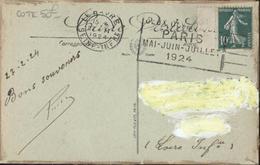 Sur CP Le Havre YT 159 CAD Le Havre 27 II 1924 Flamme Jeux Olympiques Paris Mai Juin Juillet 1924 - Mechanische Stempels (reclame)