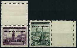 BÖHMEN UND MÄHREN 17LS,18LW **, 1939, 4 Kc. Burg Podiebrad Mit Senkrechtem Leerfeld Und 5 Kc. Ölmütz Mit Waagerechtem - Neufs