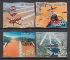 2011 Jordan Air Force Aviation Falcons Complete Set Of 4 + Souvenir Sheet MNH - Jordan