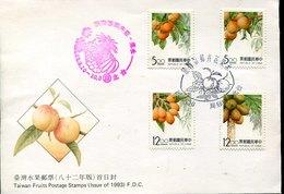 50970  Taiwan,  Fdc   1993  Fruits, - Frutta