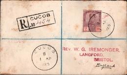! 1923 Registered Letter, Einschreiben, Cucob To Bristol England,  Singapore, Singapur, London, Malaysia - Grande-Bretagne (ex-colonies & Protectorats)
