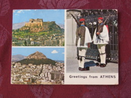 """Greece 1972 Postcard """"Athens Acropolis Soldiers In Typical Costumes"""" To England - Europa CEPT - Greece"""