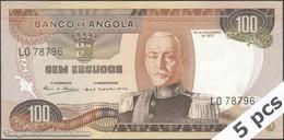 TWN - ANGOLA 101 - 100 Escudos 24.11.1972 DEALERS LOT X 5 - Various Prefixes AXF - Angola