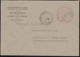 Fr - Groupe Français Du Conseil De Contrôle Des Personnes Déplacées - Enveloppe Pour Le Havre - Cachet Poste Aux Armées. - Postmark Collection (Covers)