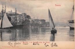 """0955 """"SAVONA - S. GIACOMO E VIA GENOVA (VISTA DAL PORTO) """" CART. ORIG. 1904 - Savona"""
