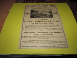 LA COTE DES ILES D'OR - CORNICHE DES MAURES - PRAMOUSQUIER-CANADEL - LA CALANQUE DE LA LOUVE - PUBLICITE DE 1928 - Publicités