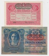 """2 - 20 - 50 - 100 KRONEN """"DEUTSCHÖSTERREICH"""" BANKNOTEN 1912/13/14/17 - TOP ZUSTAND - Austria"""