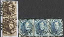 N°14A:Vert.strip Van 2 Zegels Gestempeld ( OUEST) + N° 15A Strip Van 3 Gestempeld ( MIDI) - 1863-1864 Medaillons (13/16)