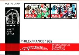 12097) MALTA 1982 - INTERO POSTALE, CARTOLINA POSTALE EUROPA CEPT C.8+30 PHILFRANCE - Isola Di Man