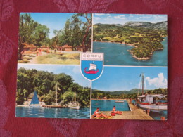 """Greece 1972 Postcard """"Corfu Arms Harbor Boats"""" To Belgium - Europa CEPT - Greece"""