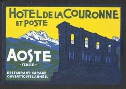 ITALY AOSTA Hotel DE LA COURONNE Luggage Label - 13,5 X 9 Cm (see Sales Conditions) - Hotel Labels
