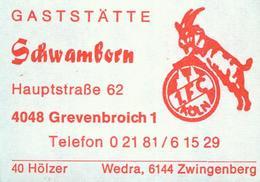1 Altes Gasthausetikett, Raststätte Schwamborn, 4048 Grevenbroich 1, Hauptstraße 62 #467 - Matchbox Labels