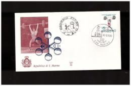 SAN MARINO - 18 9 1980 FDC CAMPIONATI  EUROPEI JUNIORES DI PESISTICA - Francobolli