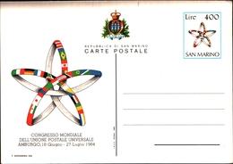 12101) INTERO POSTALE SAN MARINO 1984 AMBURGO CONGRESSO MONDIALE UPU - Isola Di Man