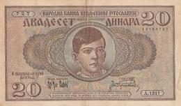 Billet 20  Dinara Yougoslavie - Joegoslavië