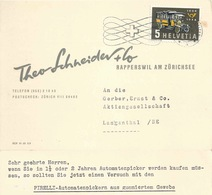 """Motiv Karte  """"Schneider, Pirelli Automatenpicker, Rapperswil SG""""         1956 - Suisse"""
