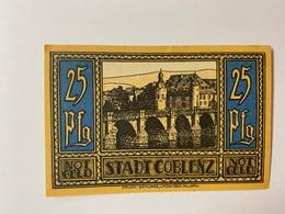 Allemagne Notgeld Coblenz 25 Pfennig - Collezioni