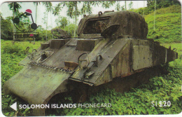 SOLOMON ISL.(GPT) - US Sherman Tank On Guadalcanal, CN : 01SDA, First Issue $20, Used - Isole Salomon
