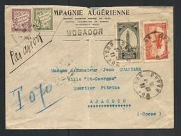 1931 - AVION MAROC FRANCE, Belle Lettre Taxée 20+50 Pour 70C Depuis Mogador Pour La Corse, AJACCIO.1931.B - Marcofilia (sobres)