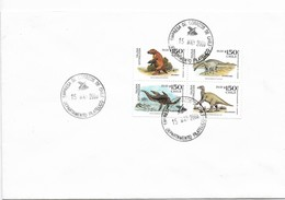 CHILE 2000 PREHISTORIC ANIMALS FAUNA DINOSAURS BLOCK OF 4 VALUES FDC COVER - Chile