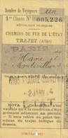 Chemins De Fer De L'Etat Trajet PARIS Au HAVRE Et à MONTIVILLIERS Le 2 Janvier 1914 Bon Pour 1 Voyageur En 1er Classe - Chemins De Fer