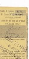 Chemins De Fer De L'Etat Trajet PARIS Au HAVRE Et à MONTIVILLIERS Le 7 Janvier 1912 Bon Pour 1 Voyageur En 1er Classe - Chemins De Fer