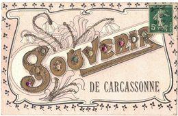 FANTAISIE GAUFREE  AVEC PAILLETTES BRILLANTS ET STRASS : SOUVENIR DE CARCASSONNE - Carcassonne