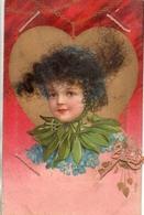 Carte á Vrais Cheveux Enfant Illustré Coeur Et Cordon Rose - Cartoline Con Meccanismi