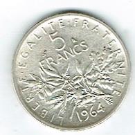 France 5Fr Argent 1964. - Frankreich