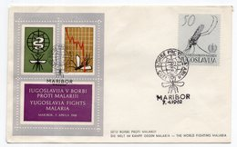 YUGOSLAVIA, FDC, 07.04.1962. COMMEMORATIVE ISSUE:YUGOSLAVIA FIGHTS MALARIA,MARIBOR FIRST DAY POSTMARK,MOSQUITO - FDC