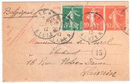 VICHY Allier Entier Carte Lettre Desti Louvain Belgique 10c Semeuse + Semeuse Yv 138-CL1 137 138 Ob 1912 - Biglietto Postale