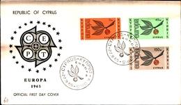 12110) CYPRUS - CIPRO - 1965 - FDC - Europa - Ramo Con Tre Foglie E Lettere CEPT - Cipro (Repubblica)