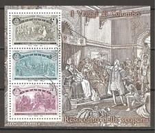 ITALIA - 1992 5° Cent. Scoperta America CRISTOFORO COLOMBO Resoconto Della Scoperta Foglietto Usato - 6. 1946-.. Repubblica