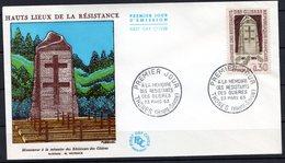 FDC FRANCE 1963 - N° 1380 - Hauts Lieux De La Résistance - A La Mémoire Des Résistants Des Glières (Haute-Savoie) - 1960-1969