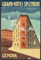 ITALY GENOVA Hotel GRAND HOTEL SPLENDIDE Luggage Label - 8,5 X 12,5 Cm (see Sales Conditions) - Etiketten Van Hotels