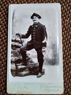 CDV Militaire CHASSEUR ALPIN - Sous-officier - Canne - Photo Léon, Grenoble TBE - War, Military