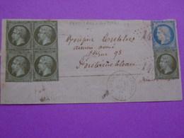 Loiret - Affranchissement 1871 à 25 C Sur Lettre Incomplète Ferrières-Gâtinais - Ceres & N°19 Empire Oblitérés GC 1488 - Poststempel (Briefe)