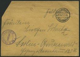ZEPPELINPOST - MILITÄRLUFTSCHIFFAHRT 1914, KGL. PR. FELD-LUFTSCHIFFER-ABTEILUNG, Violetter Briefstempel Auf Feldpostbrie - Poste Aérienne