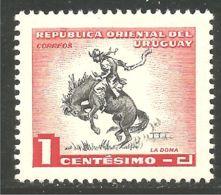906 Uruguay 1c Cheval Horse Cowboy Gaucho Caballe Cavalle Pferd  MNH ** Neuf SC (URU-85b) - Horses