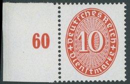 DIENSTMARKEN D 123X **, 1929, 10 Pf. Zinnoberrot, Wz. Stehend, Linkes Randstück, Postfrisch, Pracht, Mi. 90.- - Service