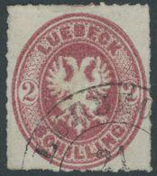 LÜBECK 10 O, 1863, 2 S. Karmin, Pracht, Mi. 90.- - Luebeck