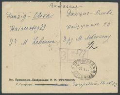 RUSSLAND 77,79A BRIEF, 1922, 1 Und 5 R. Posthörner Mit Blitzen, Gezähnt L 131/4, Rückseitig Auf Einschreibbrief Nach DAN - Russia & USSR
